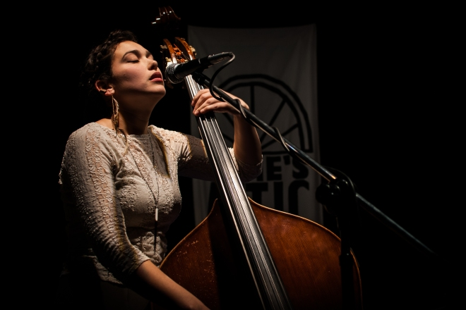 The lovely Andrea DeMarcus on upright bass